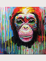 cheap -Oil Painting Hand Painted - Animals Pop Art Modern Rolled Canvas