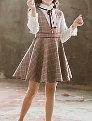 cheap -Kids Girls' Basic Plaid Long Sleeve Clothing Set Wine
