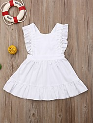 cheap -Baby Girls' Basic Solid Colored Lace up Sleeveless Dress White