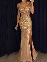 cheap -Women's Maxi Flapper Dress - Sleeveless Solid Color Sequins Split Glitter Deep V Elegant Sexy Cocktail Party Prom Birthday Pink Gold S M L XL XXL