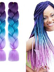 "cheap -Braiding Hair Straight Extension Twist Braids Afro Kinky Braids Synthetic Hair 3 Pieces Hair Braids Natural Color 24 inch 24"" Heat Resistant Synthetic 100% kanekalon hair Dailywear African Braids"