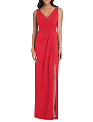 cheap -Sheath / Column V Neck Floor Length Jersey Formal Evening Dress with Draping / Split Front by LAN TING Express