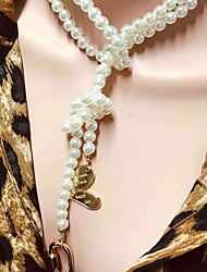 cheap -Women's Pendant Necklace Necklace Layered Necklace Layered Heart Vintage Trendy Ethnic Fashion Imitation Pearl Beige 36 cm Necklace Jewelry 1pc For Gift Daily Holiday Festival