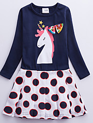 cheap -Kids Girls' Cute Blue & White Unicorn Polka Dot Galaxy Cartoon Print Long Sleeve Knee-length Dress Royal Blue / Cotton