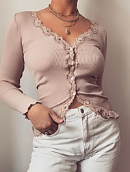 cheap -Women's Holiday Going out Boho / Street chic Skinny Blouse - Solid Colored Lace / Patchwork Black