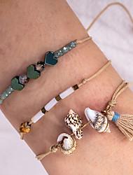 cheap -3pcs Women's Dark Green Bead Bracelet Vintage Bracelet Earrings / Bracelet Layered Heart Shell Vintage Trendy Fashion Boho Elegant Cord Bracelet Jewelry Brown For Gift Daily Holiday Festival