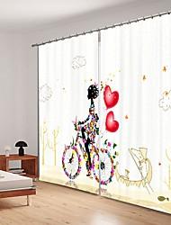 cheap -Simple Decoration Bicycle Riding Girl Digital Printing 3D Curtain Shading Curtain High Precision Black Silk Fabric High Quality Curtain