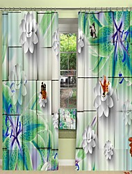 cheap -Green Lily Digital Printing 3D Curtain in Stereo Background Shading Curtain High Precision Black Silk Fabric High Quality Curtain