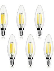 cheap -6pcs 4 W LED Filament Bulbs 360 lm E14 C35 4 LED Beads COB Decorative Christmas Wedding Decoration Warm White Cold White 220-240 V