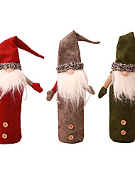 cheap -Christmas Champagne Wine Cover Bottle Plush Hat Bottle Set Santa Family Party Table Decoration Christmas Gifts