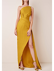 cheap -Sheath / Column Minimalist Yellow Holiday Prom Dress One Shoulder Sleeveless Asymmetrical Satin with Split Front 2020