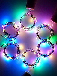 cheap -Wine Bottle Lights with Cork String Light Warm White 2m 6 Packs Battery Operated LED Cork Shape Silver Copper Wire Colorful Fairy Mini String Lights