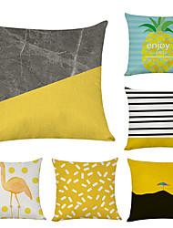cheap -6 pcs Linen Pillow Cover, Flamingo Leaf Fashion Modern Throw Pillow