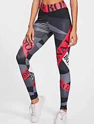 cheap -Women's High Waist Yoga Pants Print Black Black / Silver Gray+White Light Blue White / Black Elastane Running Fitness Gym Workout Tights Leggings Bottoms Sport Activewear Moisture Wicking Butt Lift