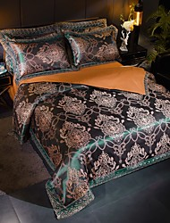 cheap -Duvet Cover Sets European Satin Luxury Dark Green/ Gold Floral Pattern/ Jacquard Lace 4 Piece Bedding Set
