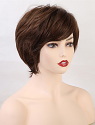 cheap -Human Hair Wig Short Curly Natural Wave Pixie Cut With Bangs Black Brown Fashionable Design Women Comfortable Capless Women's All Black#1B Brown Light Blonde 10 inch / African American Wig