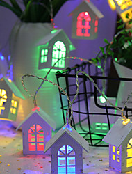cheap -Nordic Wooden House Model Lamp String 4M 20Led Halloween Decoration Festival Decoration Power Supply 1Pc