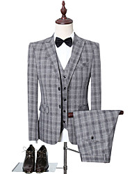 cheap -Light Grey / Gray Checkered Slim Fit Polyester Suit - Peak Single Breasted Two-buttons