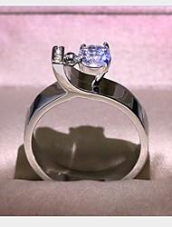 cheap -Women's Ring Cubic Zirconia 1pc Silver Brass Geometric Fashion Daily Holiday Jewelry Geometrical Flower Cool