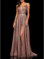 cheap -A-Line Spaghetti Strap Sweep / Brush Train Satin Open Back Prom / Formal Evening Dress with Split Front / Pleats 2020