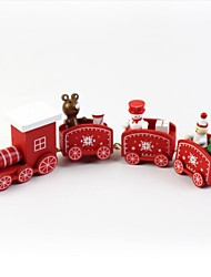 cheap -Lovely Wooden Christmas Train Toy Decoration Gift Mini Christmas Train Wooden Train Model Vehicle Toys For Children