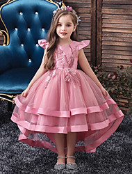 cheap -Kids Little Girls' Dress Solid Colored Layered Dress Beaded Embroidered Blushing Pink Wine Khaki Asymmetrical Short Sleeve Active Sweet Dresses New Year Slim