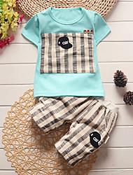 cheap -Baby Boys' Basic Dinosaur Print Print Short Sleeve Long Long Clothing Set Light Blue