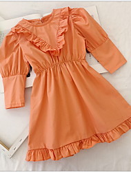 cheap -Baby Girls' Basic Solid Colored Long Sleeve Dress Orange