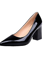 cheap -Women's Heels Chunky Heel Pointed Toe Rubber / PU Fall Black / White / Burgundy / Daily