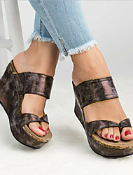 cheap -Women's PU(Polyurethane) Spring &  Fall / Spring & Summer Casual / Minimalism Sandals Wedge Heel Open Toe Black / Gray / Brown