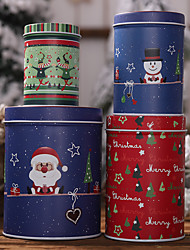 cheap -Christmas New Year Tin Cans Candy Gift Box Storage Box Cookie Jar 4 Pieces