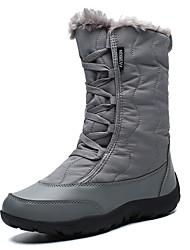 cheap -Women's Boots Flat Heel Round Toe Chiffon Mid-Calf Boots Casual / British Walking Shoes Winter / Fall & Winter Black / White / Burgundy