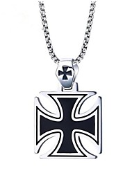 cheap -Men's Pendant Necklace Classic Cross Vintage Stainless Steel Silver 60 cm Necklace Jewelry 1pc For Gift Daily