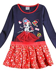 cheap -Kids Girls' Active Blue Cartoon Layered Print Long Sleeve Above Knee Dress Royal Blue / Cotton