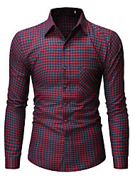 cheap -Men's Daily Work Business / Basic Shirt - Striped / Solid Colored Wine