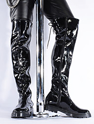 cheap -Women's Boots Over-The-Knee Boots Chunky Heel Round Toe Patent Leather Thigh-high Boots Vintage / British Winter / Fall & Winter Black / Party & Evening