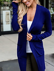 cheap -Women's Solid Colored Long Sleeve Cardigan Sweater Jumper, V Neck Black / Wine / Blue S / M / L