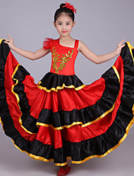 cheap -Girls' Spanish Lady Dance Folk Dance Dress Ethnic Style Polyester Red Dress