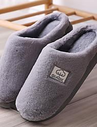 cheap -Men's Comfort Shoes Faux Fur Winter Casual Slippers & Flip-Flops Walking Shoes Warm Brown / Gray