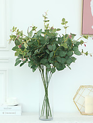 abordables -fleur artificielle 2 fourchette rose feuille simulation plante plante verte décoration de la maison mariage