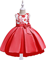cheap -Kids Toddler Girls' Active Cute Floral Color Block Christmas Bow Layered Pleated Sleeveless Midi Dress Blushing Pink