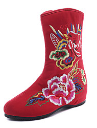 cheap -Women's Boots Flat Heel Round Toe Satin Flower Canvas Mid-Calf Boots Vintage / Chinoiserie Spring &  Fall / Fall & Winter Black / Red