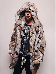 cheap -Men's Daily / Going out Basic Fall & Winter Regular Faux Fur Coat, Tie Dye Hooded Long Sleeve Faux Fur Brown