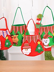 cheap -4pcs New Year Christmas Gifts Santa Claus Snowman Candy Bags Hanging Bag