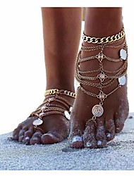 cheap -Women's Anklet Barefoot Sandals feet jewelry Layered Stacking Stackable Ladies Personalized Unique Design European Bikini Silver Anklet Jewelry Glod / Silver For Christmas Gifts Daily Casual Sports