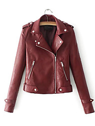 cheap -N / A Daily Fall & Winter Regular Leather Jacket, Solid Colored Shirt Collar Long Sleeve PU Black / Wine / Yellow