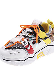 cheap -Women's Athletic Shoes Flat Heel Round Toe Stitching Lace Mesh Casual Walking Shoes Fall & Winter White / Gray