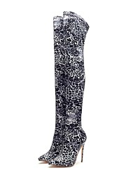 cheap -Women's Boots Over-The-Knee Boots Stiletto Heel Pointed Toe Elastic Fabric Thigh-high Boots Fall & Winter Black / Green / Leopard