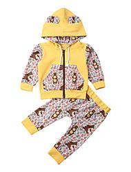 cheap -Baby Boys' Active Print Print Long Sleeve Long Long Clothing Set Yellow