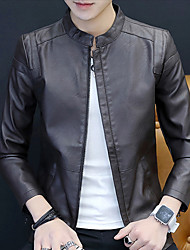 cheap -Men's Daily / Work Winter Regular Leather Jacket, Solid Colored Stand Long Sleeve PU Black / Wine / Brown